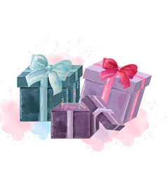 Gift boxes watercolor isolated on white vector