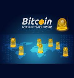 golden bitcoin in shining light effect on world vector image