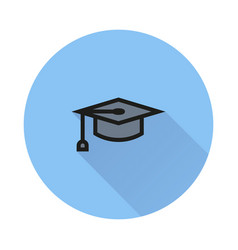 graduation cap symbol icon on round background vector image