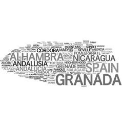 Granada word cloud concept vector
