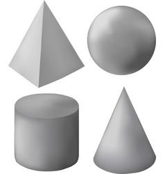 gray 3d geometric figures vector image