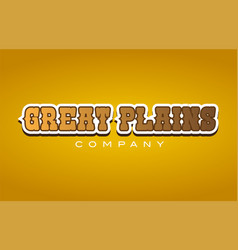 great plains western style word text logo design vector image