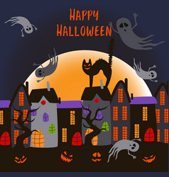 halloween poster with ghosts in city vector image