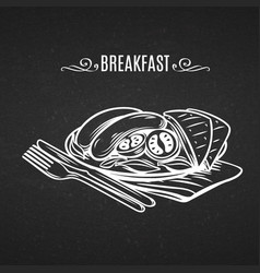 Hand draw icon in old chalk board style breakfast vector