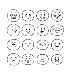 hand drawn funny smiley faces emoji icons vector image