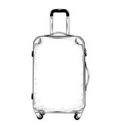 Hand drawn sketch of suitcase in black isolated on vector