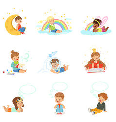 Happy kids dreaming and fantasizing cartoon vector