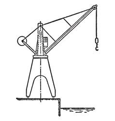 hydraulic dockside jib crane used inside vector image