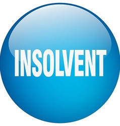 Insolvent blue round gel isolated push button vector