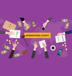 international courts concept discussion in a vector image