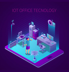 iot office technology isometric composition vector image