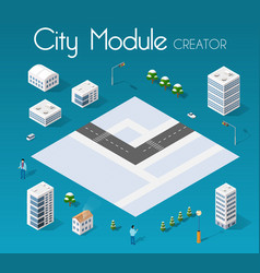 isometric set module city vector image