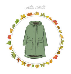 Jacket hand draw clothes autumn collection frame vector