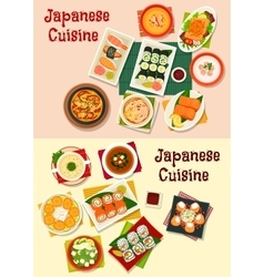 Japanese cuisine seafood sushi icon set vector