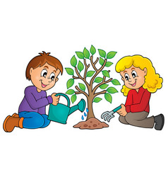 Kids planting tree theme image 1 vector