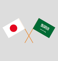 Kingdom of saudi arabia and japan flags vector