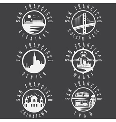 Label set with landmarks of San Francisco vector