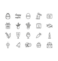 line icons happy easter vector image