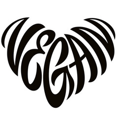 love vegan word lettering in the shape of heart vector image
