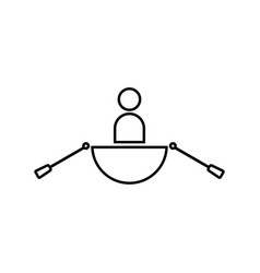 man in a boat black color icon vector image