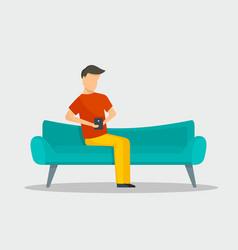 man with smartphone at sofa banner horizontal vector image