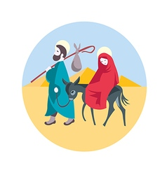 Mary and Joseph flee to Egypt Nativity Jesus Illus vector image