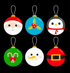 Merry christmas ball toy hanging icon set tree vector