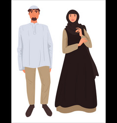 Muslim couple man and woman wearing traditional vector