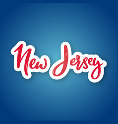 new jersey - hand drawn lettering name of usa vector image
