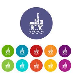 oil platform icons set color vector image