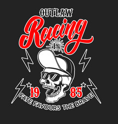 Outlaw racing emblem template with skull in vector