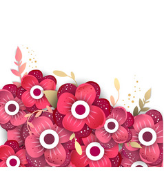 paper cut style of bright flowers vector image