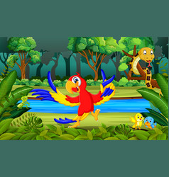 parrot in the forest vector image