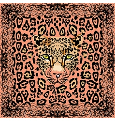 Pattern with a muzzle of a leopard vector image