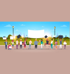 people group holding placards and megaphone vector image