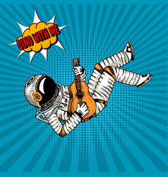 Pop art astronaut musician soaring with a guitar vector