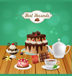 Realistic tea with chocolate desserts vector