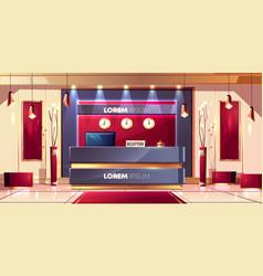 Reception counter in hotel lobcartoon vector
