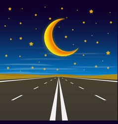 Road to infinity road to horizon at night vector