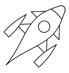 Rocket with porthole icon outline style vector