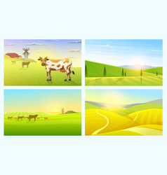 rural landscape or meadow farm agriculture vector image