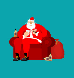 santa claus on chair and drinking whiskey and vector image