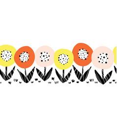 Seamless flower border cute florals vector