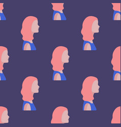 Seamless pattern with women faces flat vector