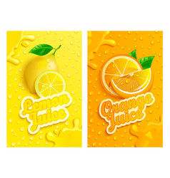 set fresh lemon and orange juices backgrounds vector image