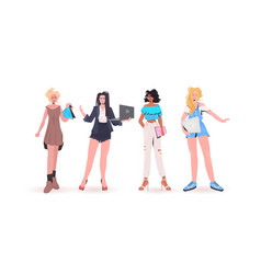 set mix race women using digital devices beautiful vector image