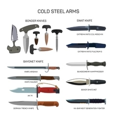 Set of combat knifes icons isolated on vector