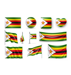 set zimbabwe flags banners banners symbols vector image