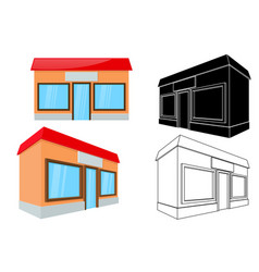 shop building front and side view 3d and outline vector image