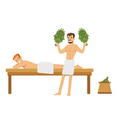 Smiling man wearing towel massaging another man vector